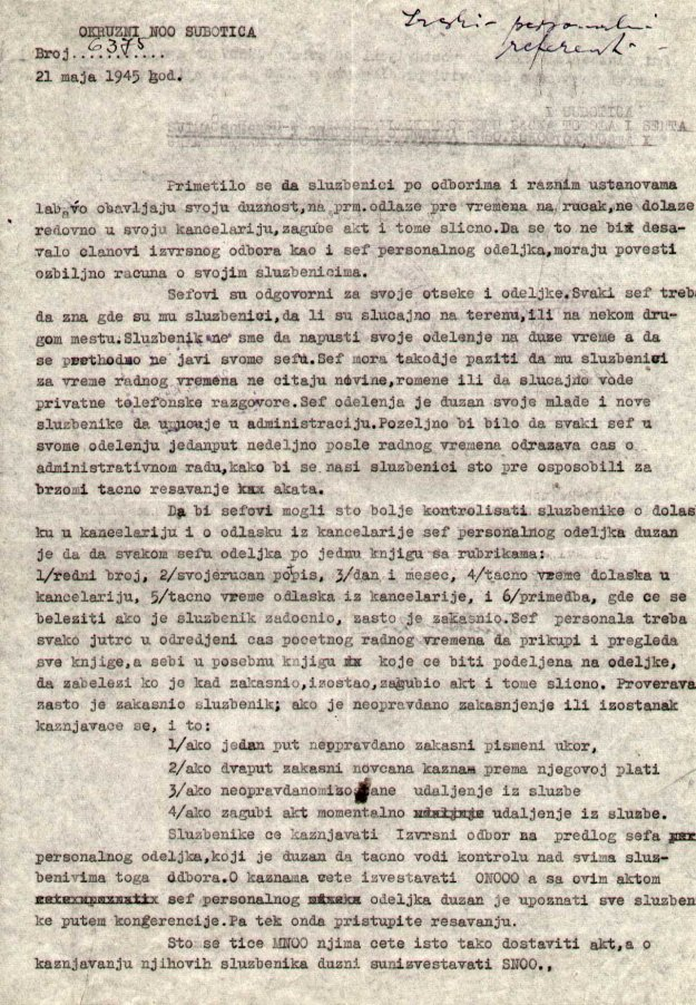 II 166 1945 sluzbenicima disciplina